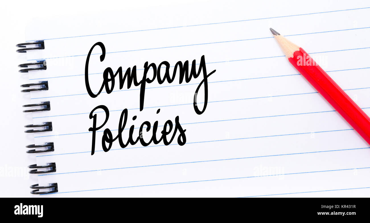 Company Policies written on notebook page - Stock Image