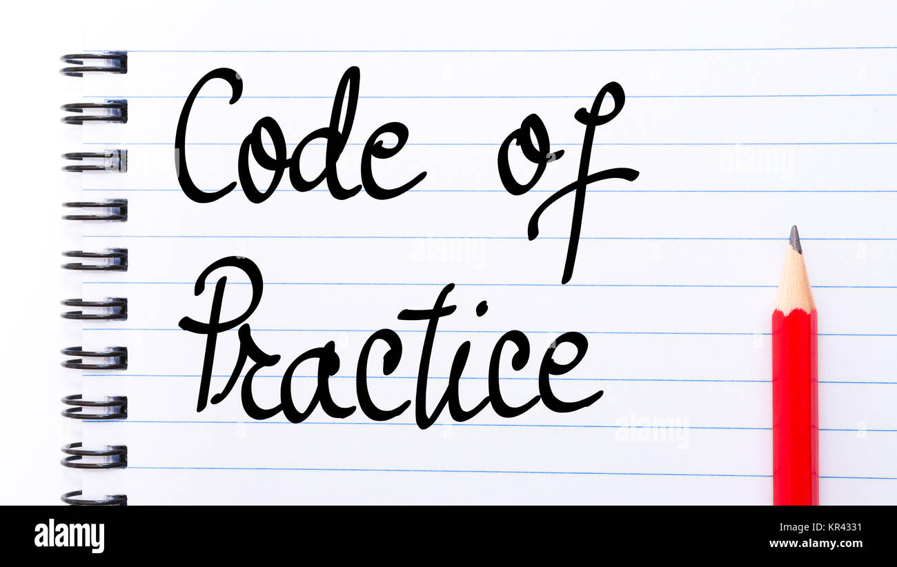 Code Of Practice written on notebook page - Stock Image
