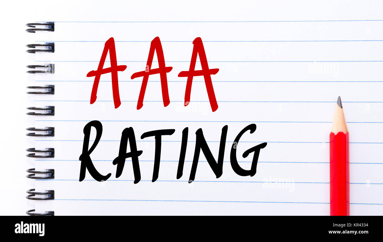 AAA Rating written on notebook page - Stock Image