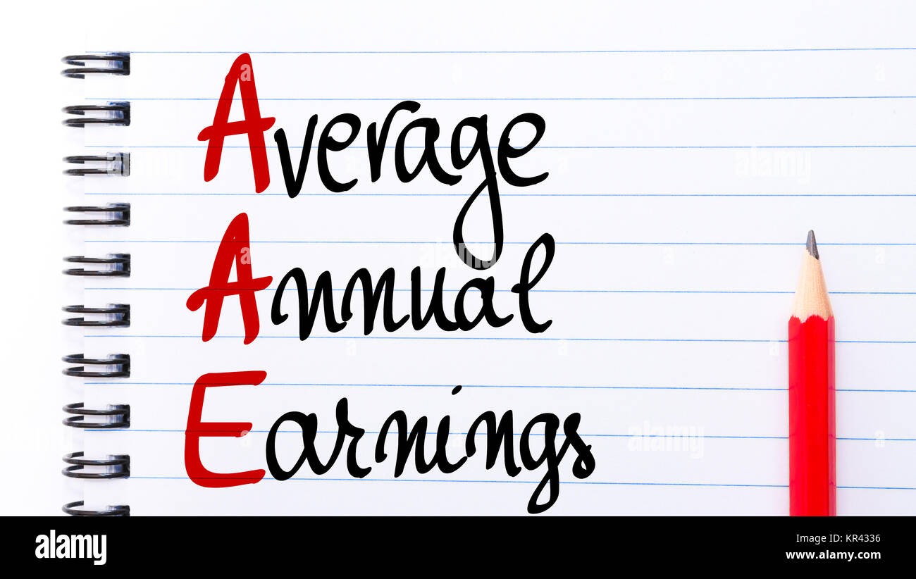 AAE Average Annual Earnings written on notebook page - Stock Image