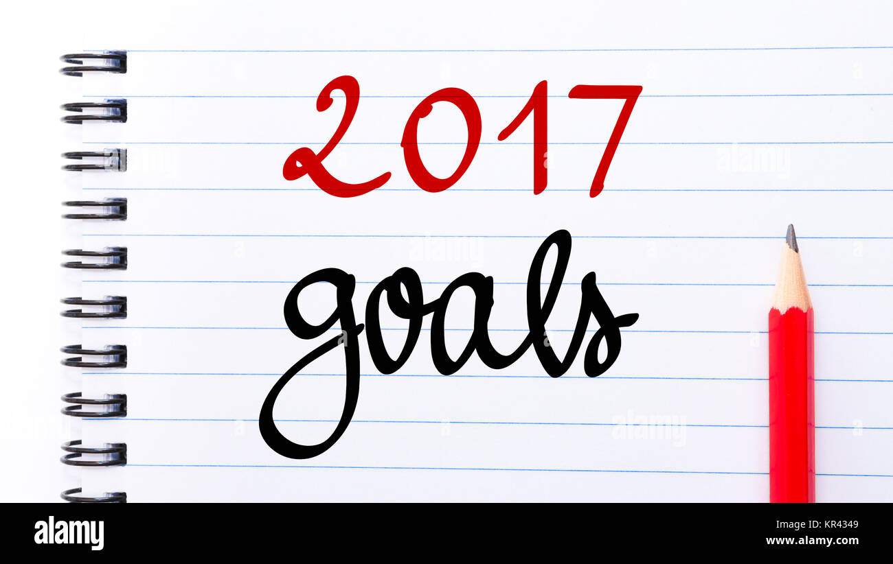 2017 Goals written on notebook page - Stock Image