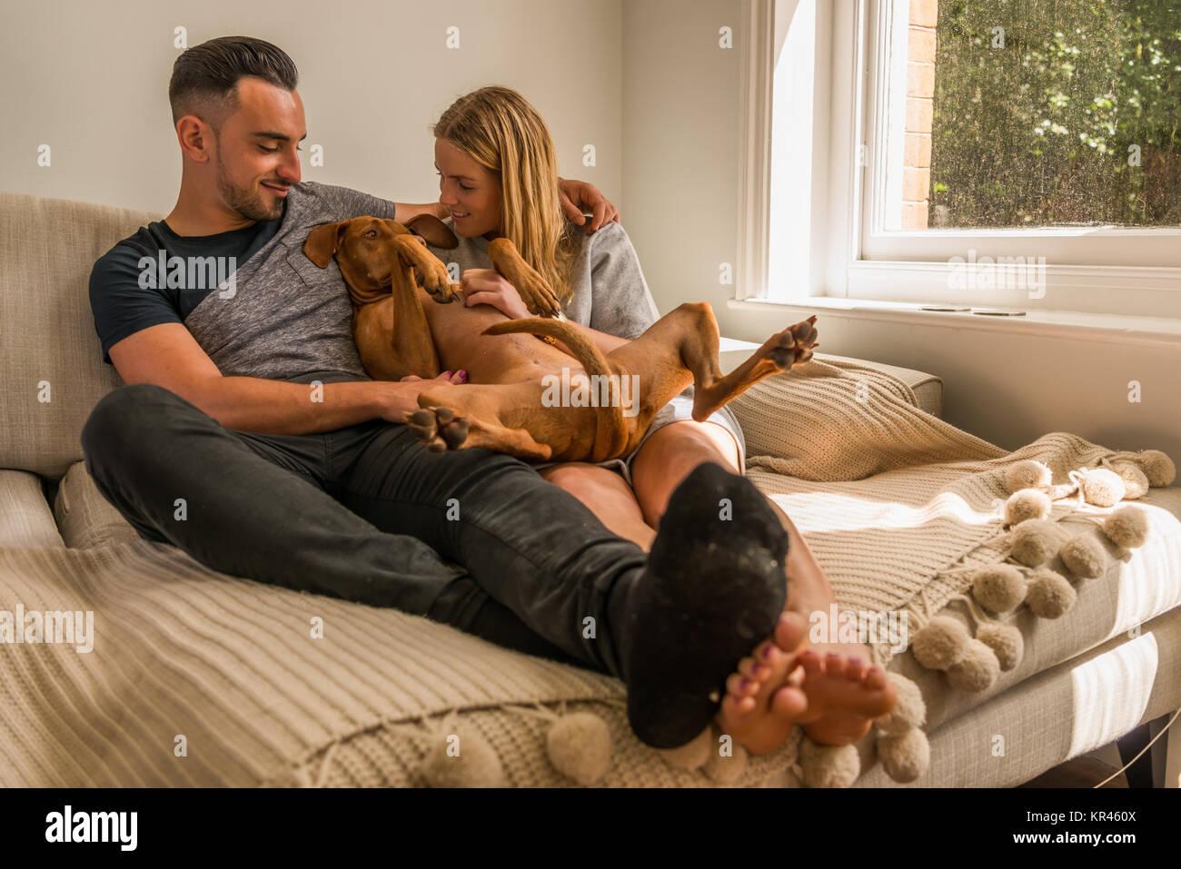 Couple on sofa by window cuddling dog - Stock Image