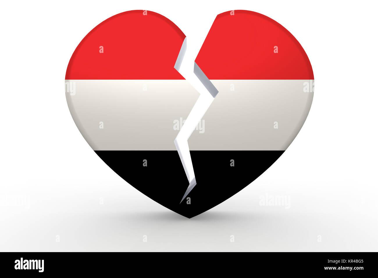 Broken white heart shape with Yemen flag Stock Photo