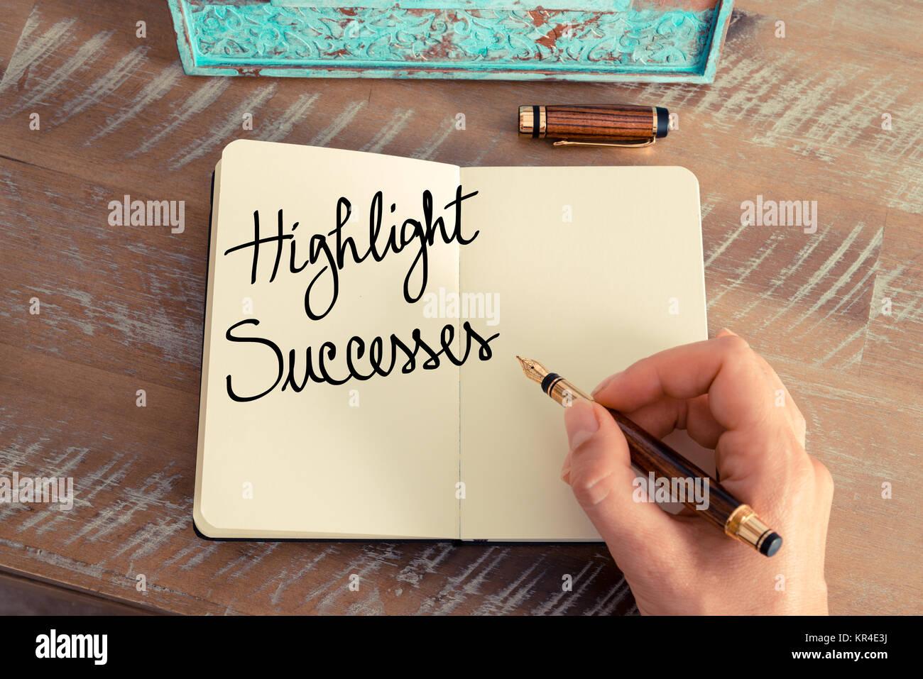 Handwritten text Highlight Successes - Stock Image