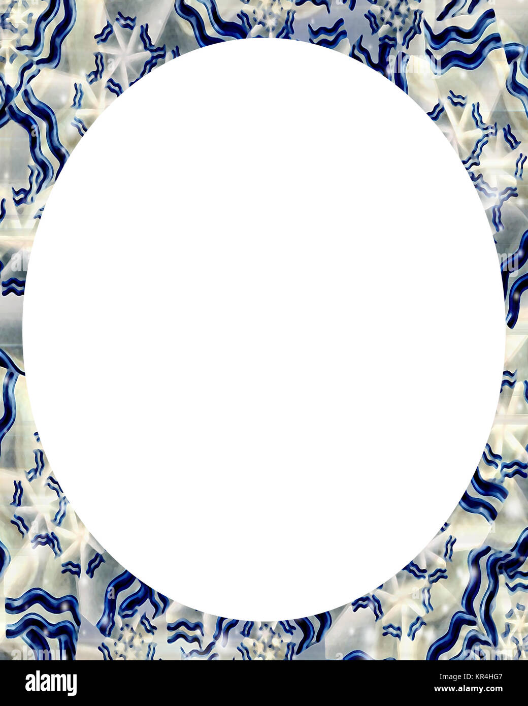 White Background with Decorated Borders - Stock Image