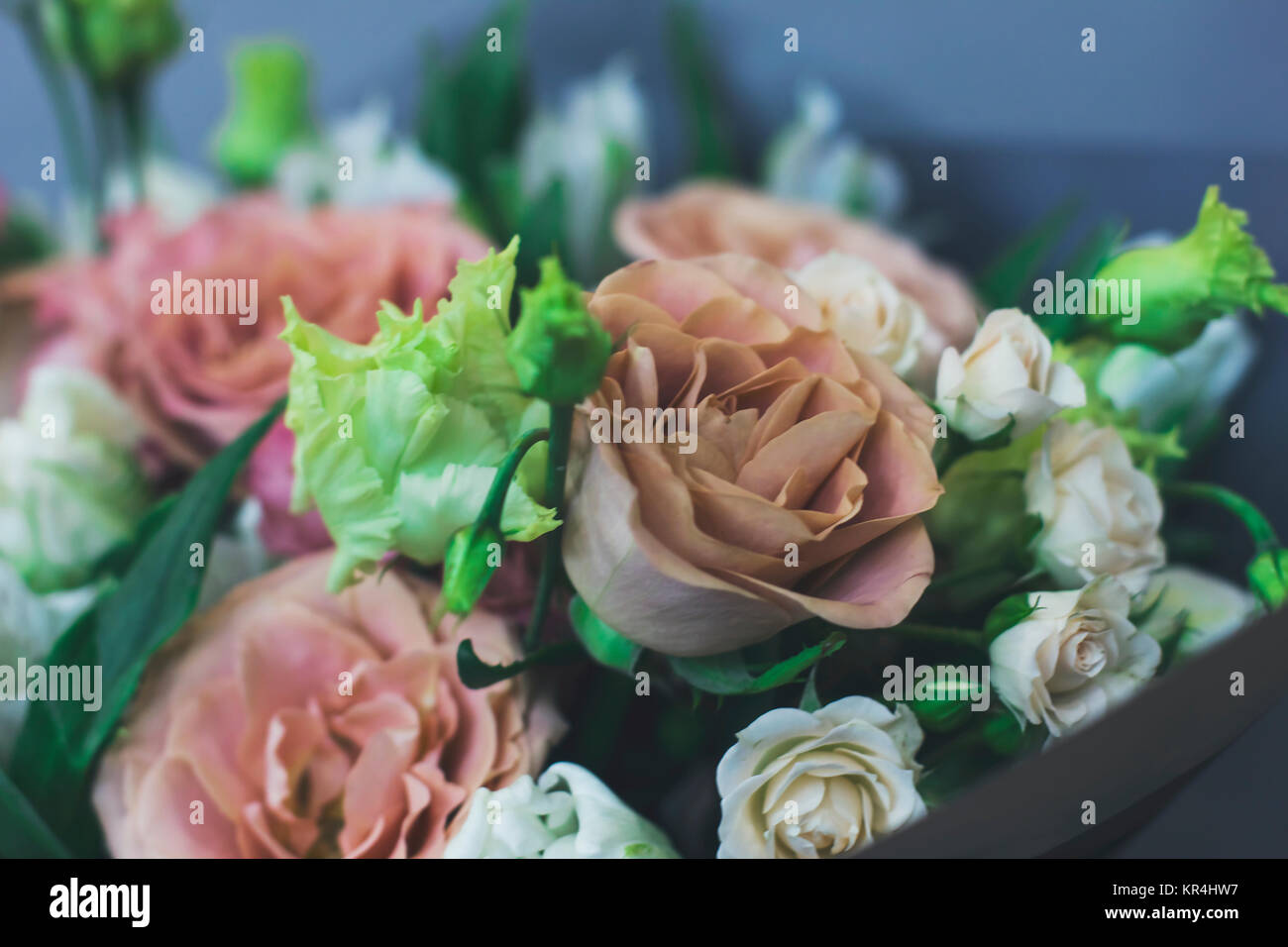 The Large Bouquet Of Ashen Roses Rustic Boho Chic Stock Photo Alamy