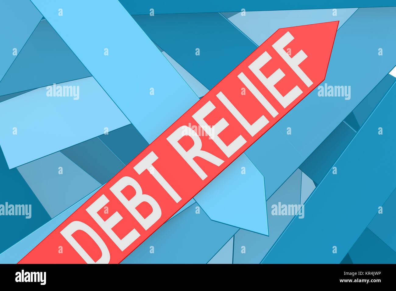 Debt relief arrow pointing upward - Stock Image