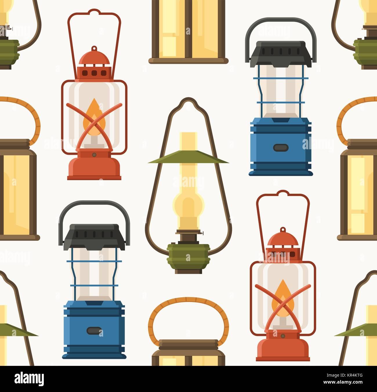 Retro Lantern or Gas Lamp Pattern - Stock Image