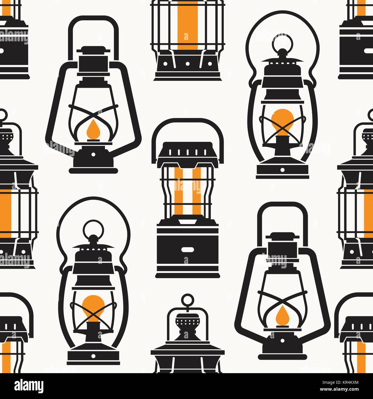 Vintage Camping Lantern Labels - Stock Vector