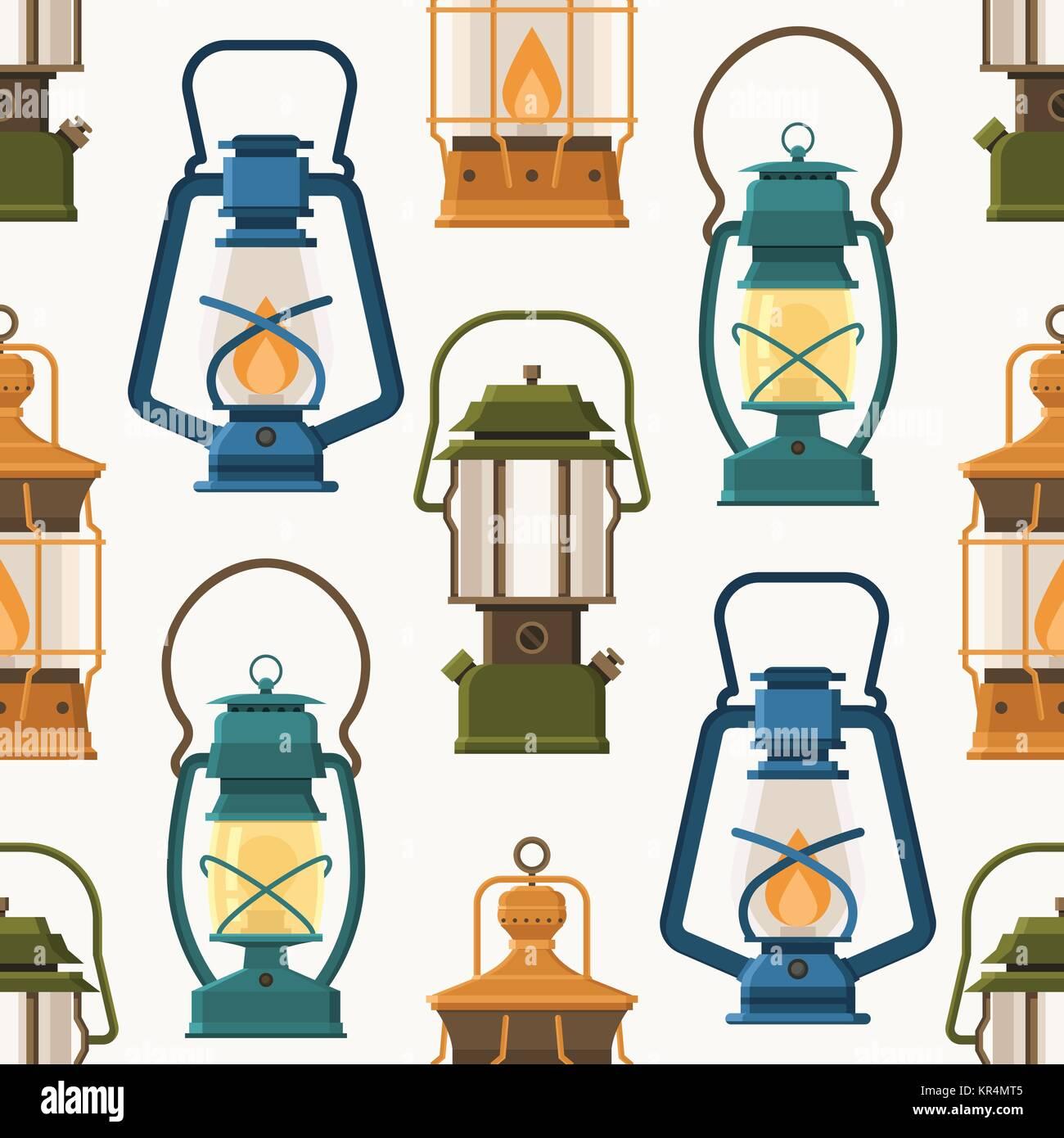 Retro Lantern or Gas Lamp Pattern - Stock Vector
