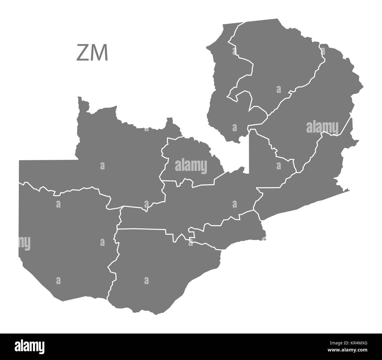Zambia provinces Map grey Stock Photo: 169134632 - Alamy