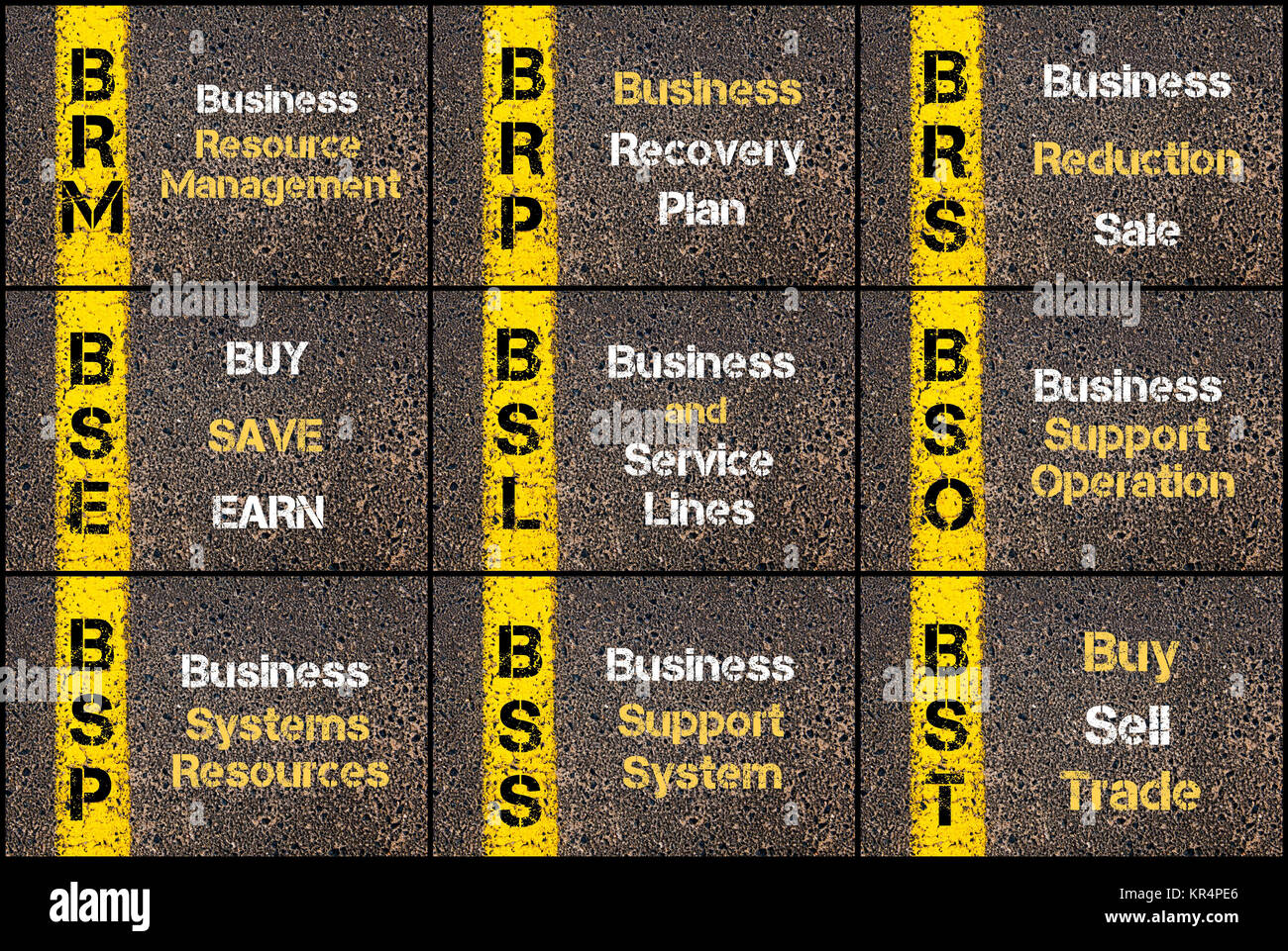 Photo collage of business acronyms - Stock Image