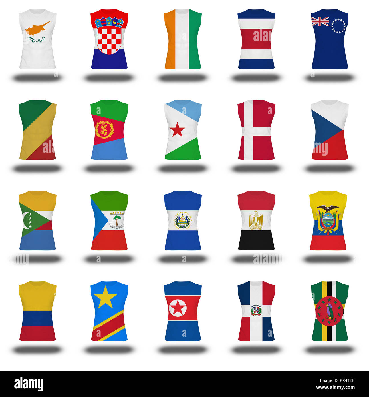 compilation of nationals flag shirt icon on white background part 3\10 Stock Photo