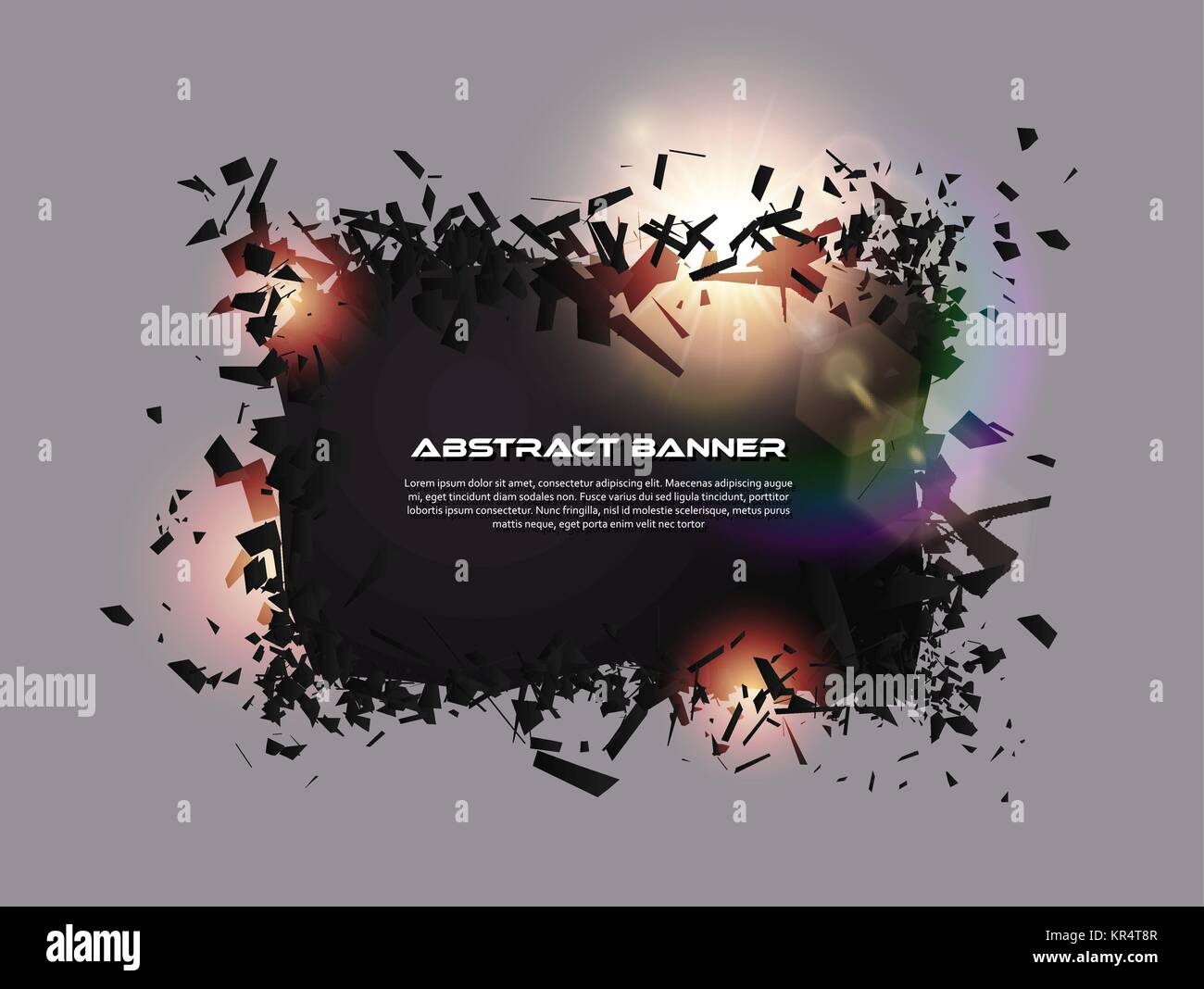 Speech bubble, exploding effect. Abstract explosion black pieces with lens flare. Explosive destruction. Particles - Stock Vector