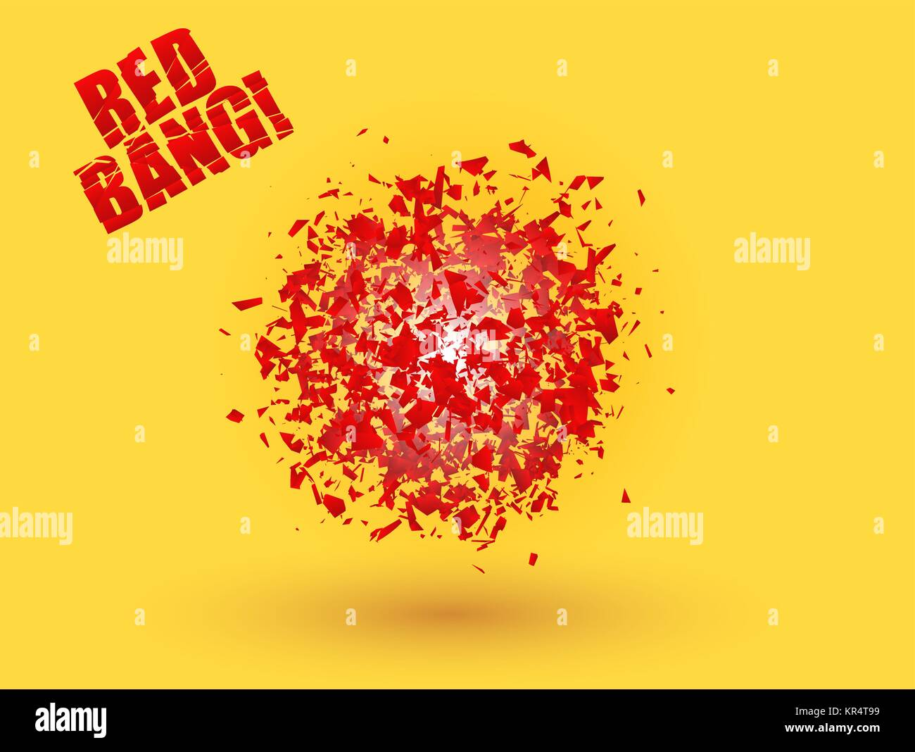 Abstract explosion cloud of red pieces on bright orange yellow background. Explosive destruction. Particles of star - Stock Vector