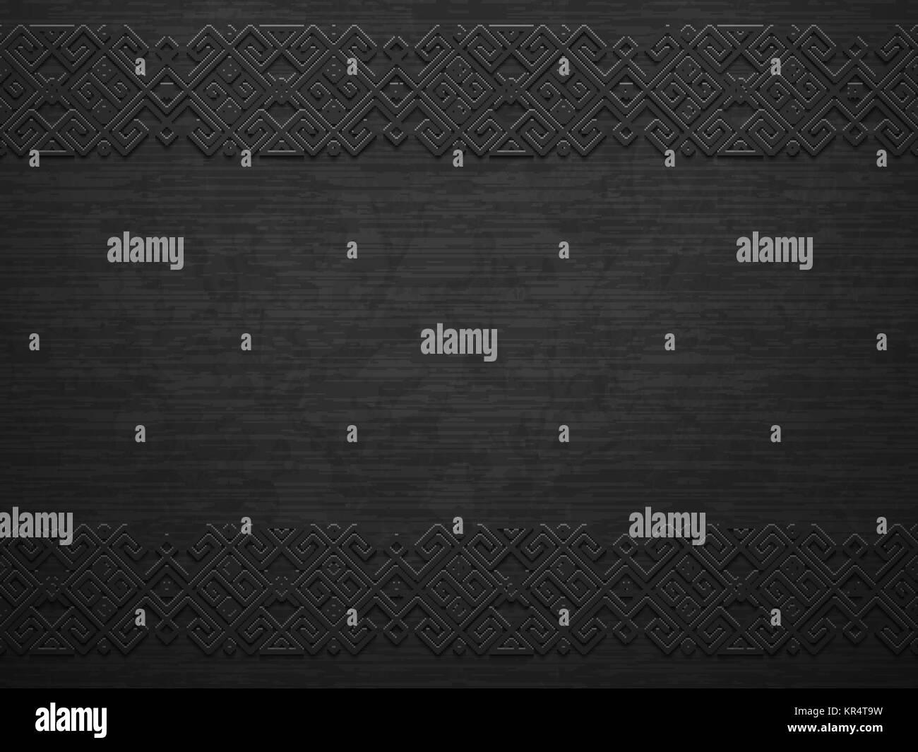 Vector grunge rough dark metal background with scandinavian pattern. Iron material brutal ethnic geometric pattern - Stock Image