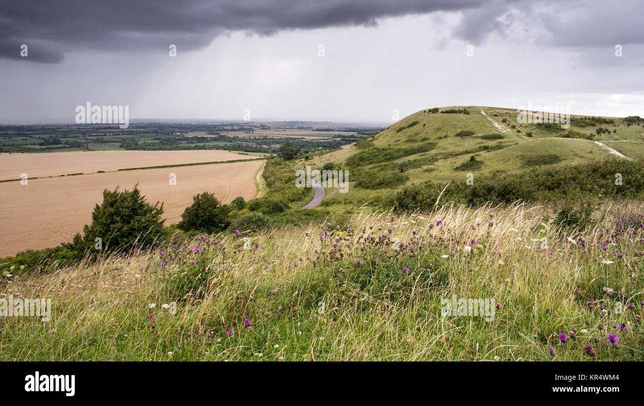 A downpour of rain passes over the agricultural plain of the Aylesbury Vale in Buckinghamshire, England, with the - Stock Image