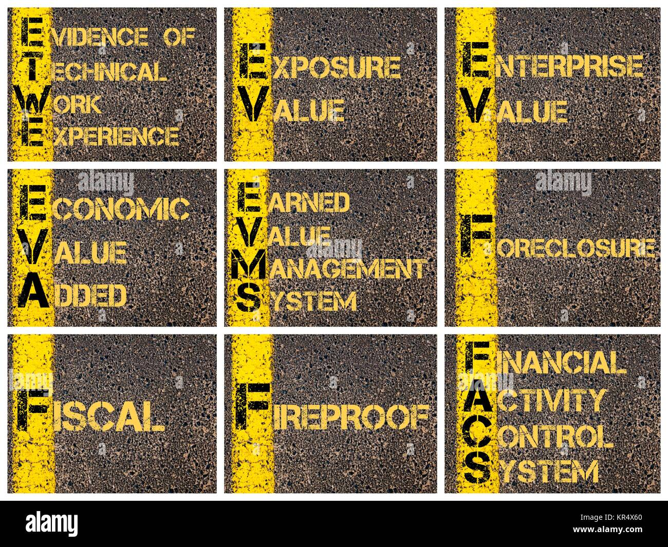 Photo collage of business acronyms Stock Photo: 169138760