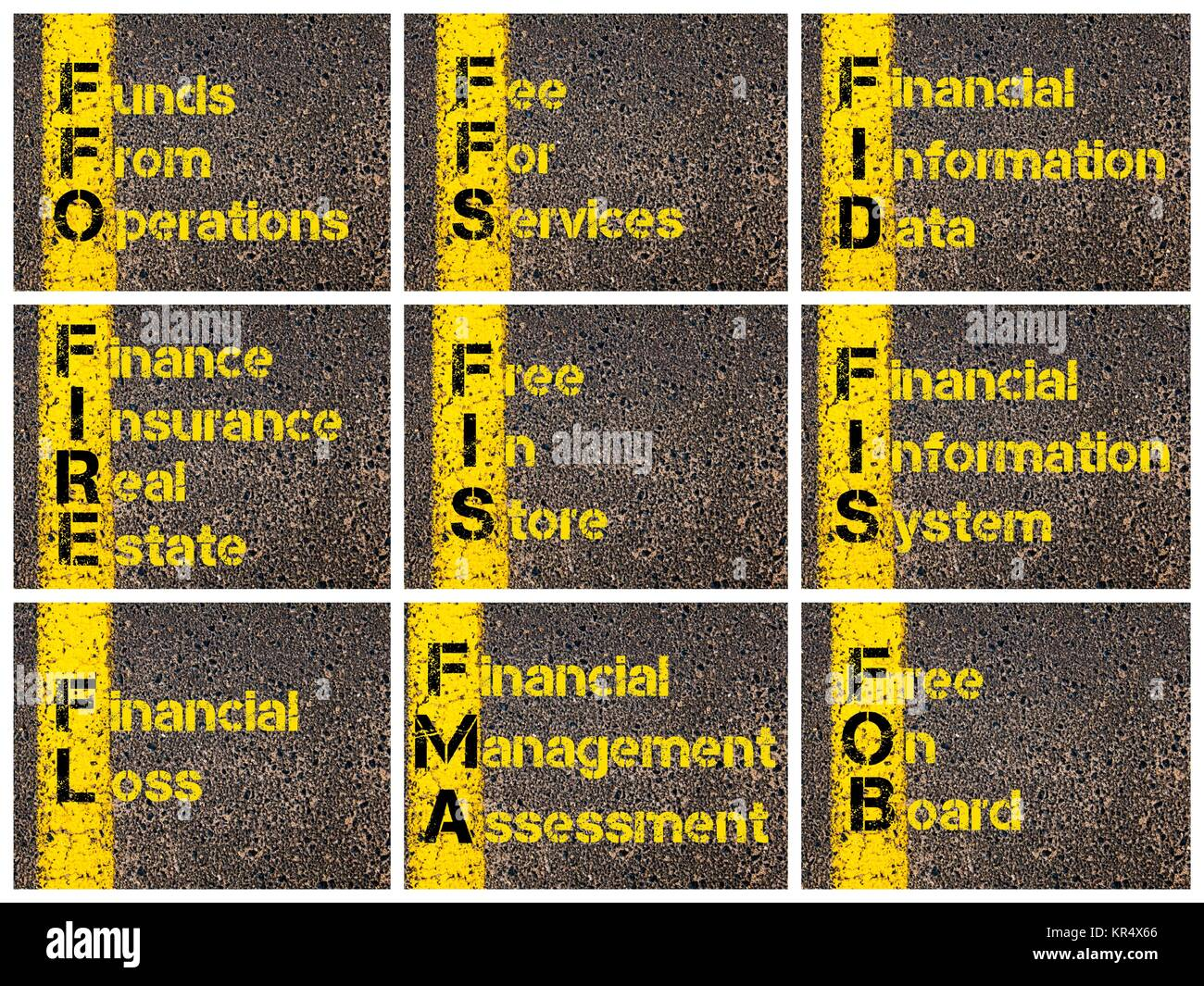 Photo collage of business acronyms Stock Photo: 169138766