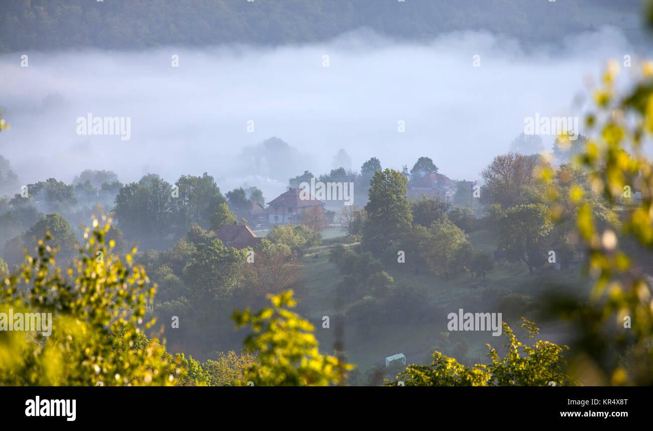 Fog ower avilage in Transylvania - Stock Image