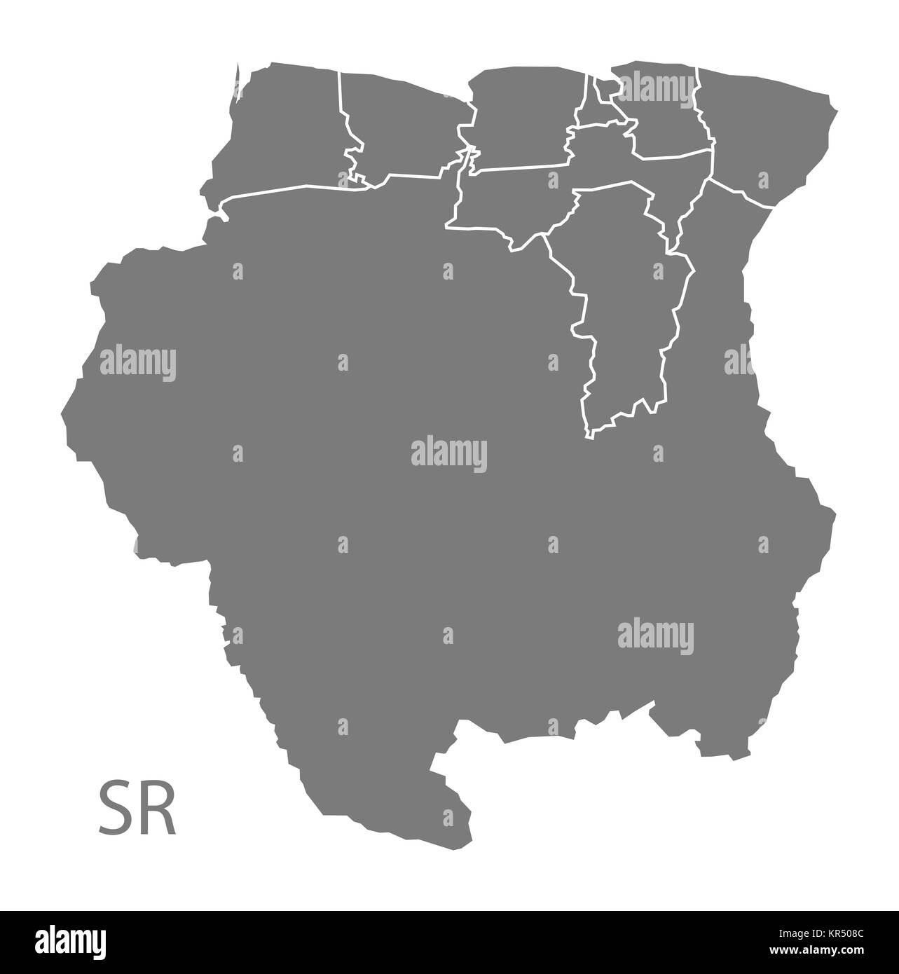 Suriname districts Map grey - Stock Image