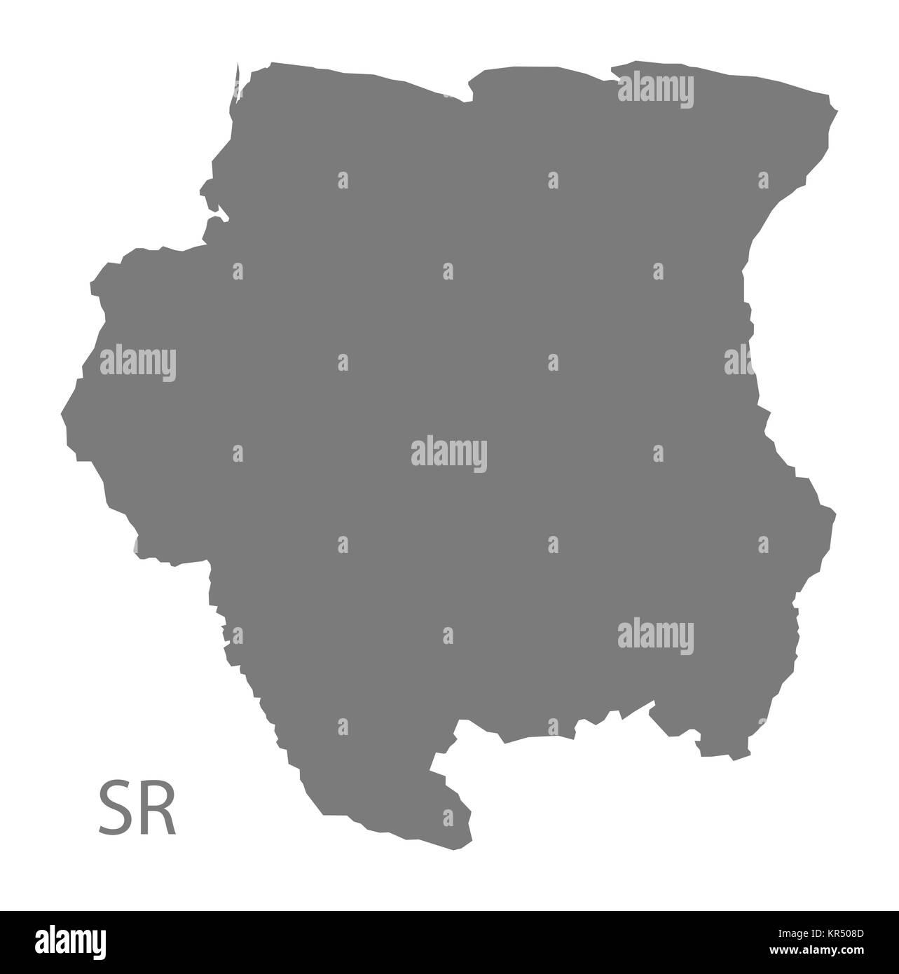 Suriname Map grey - Stock Image