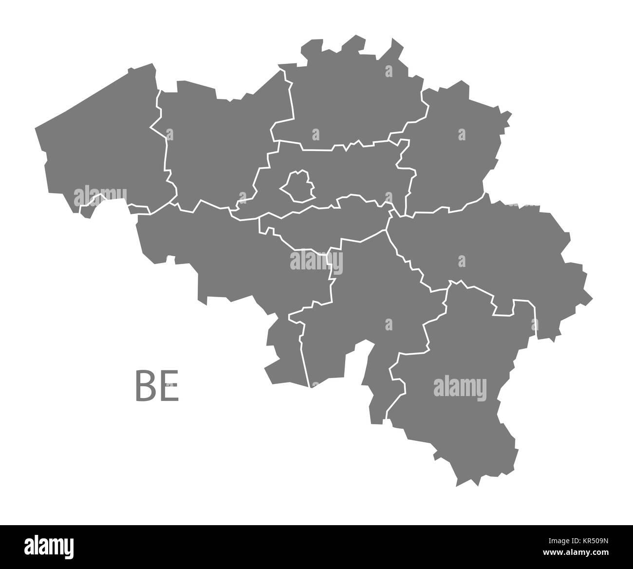 belgium regions map grey stock image