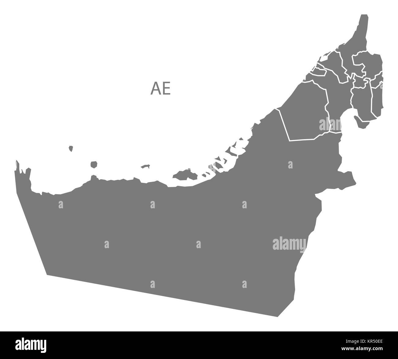 United Arab Emirates with emirates Map grey - Stock Image