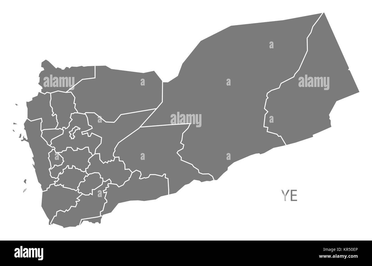 Yemen governorates Map grey - Stock Image