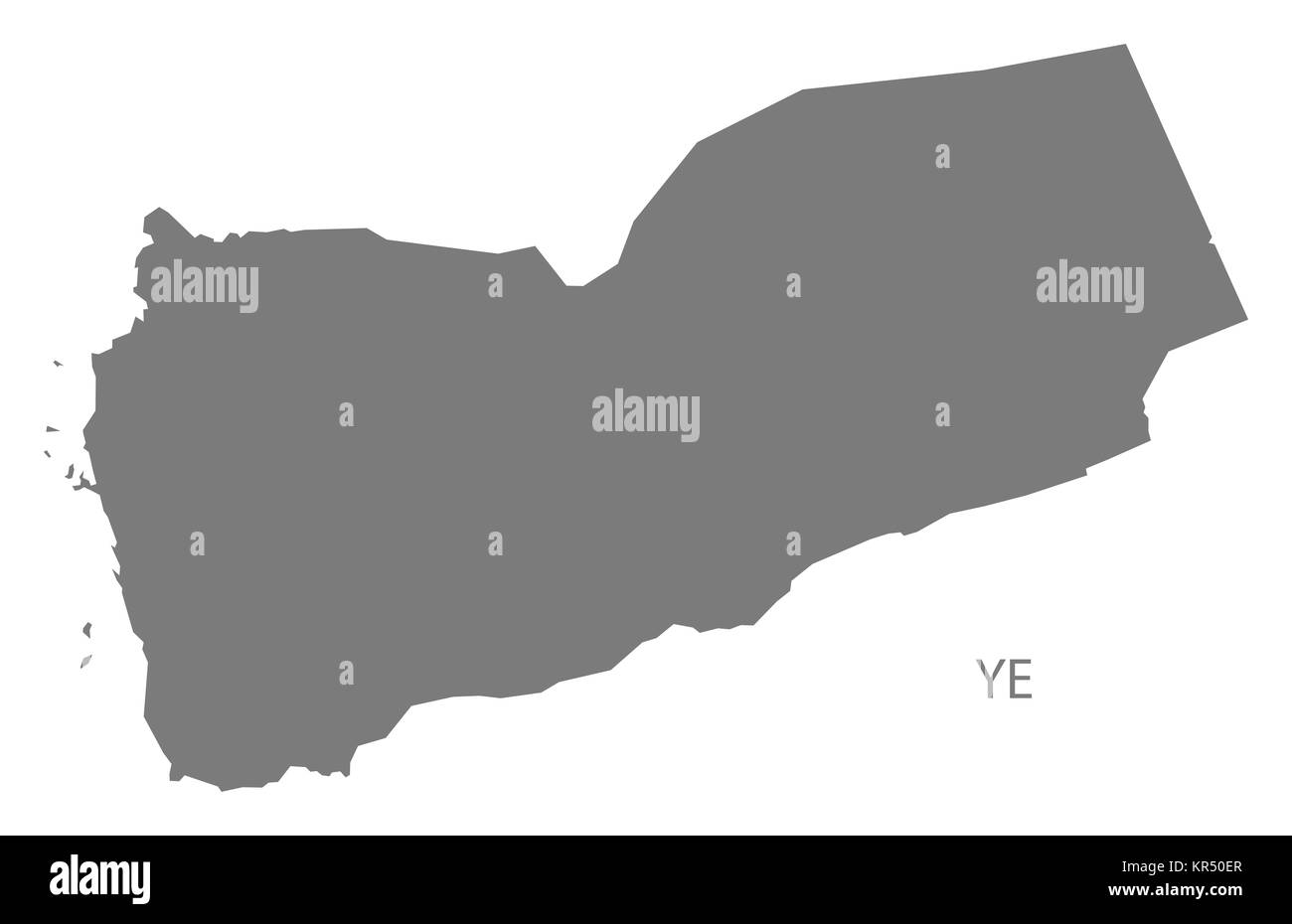 Yemen Map grey Stock Photo