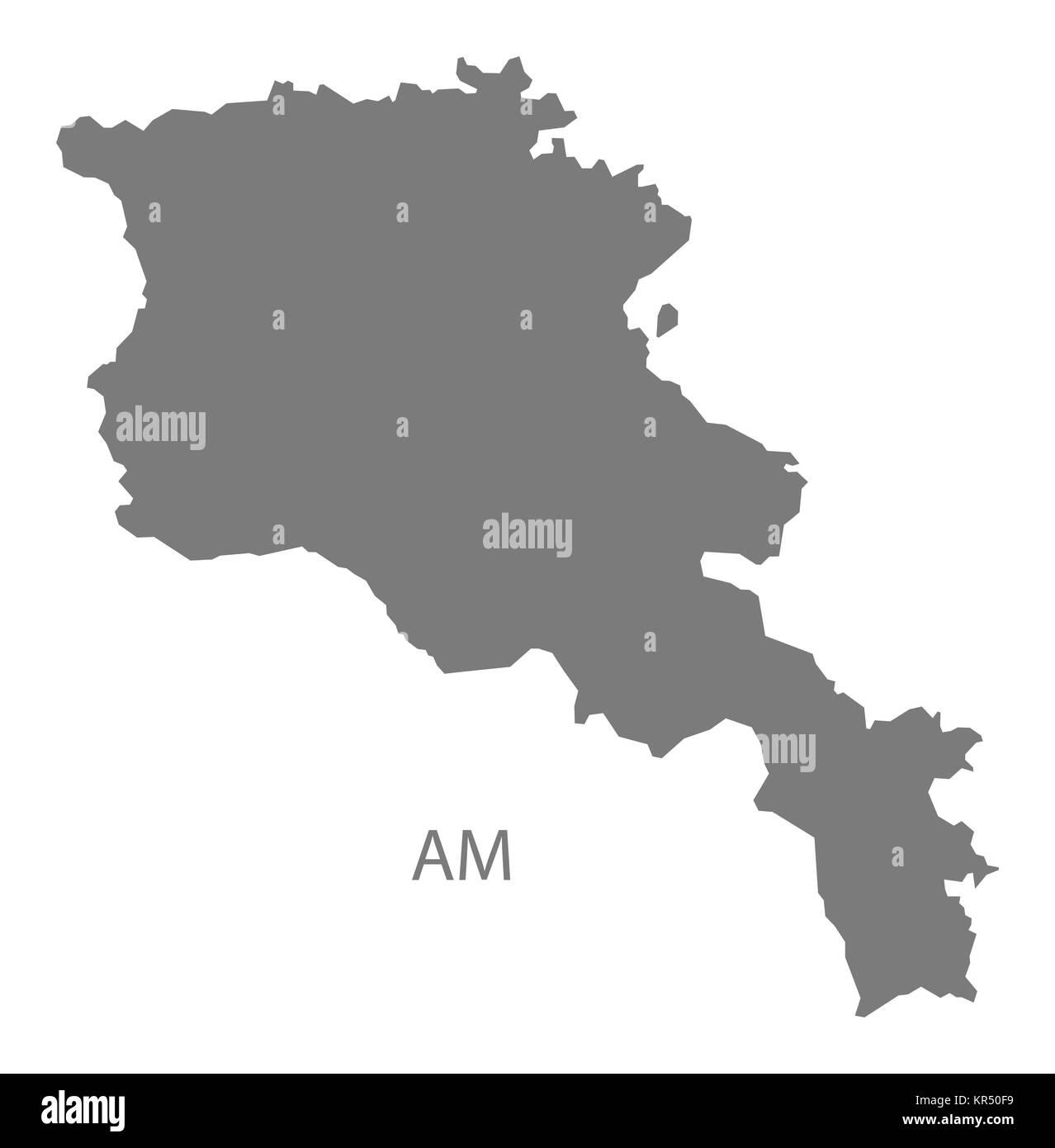 Armenia Map grey - Stock Image