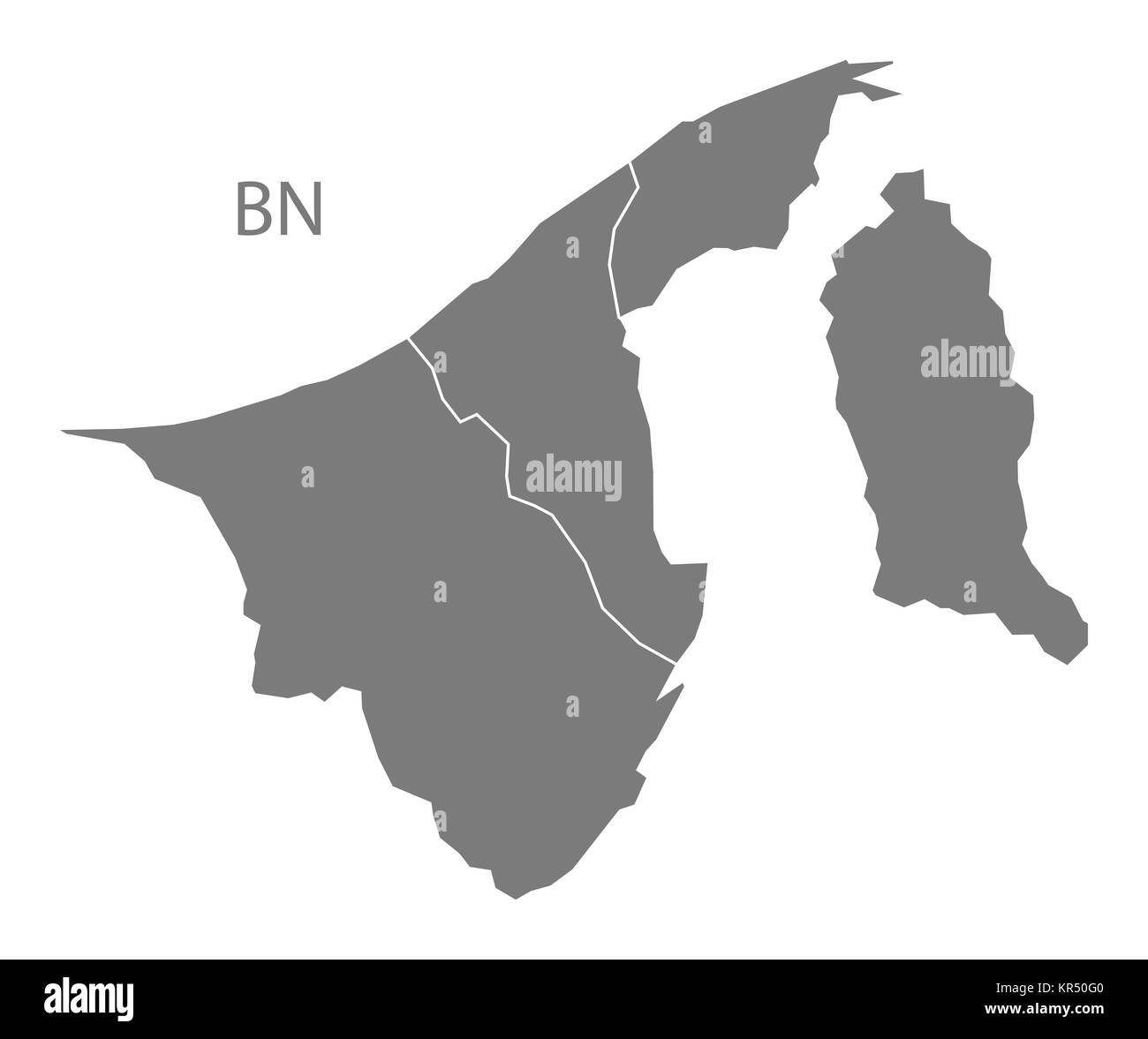 Brunei districts Map grey - Stock Image