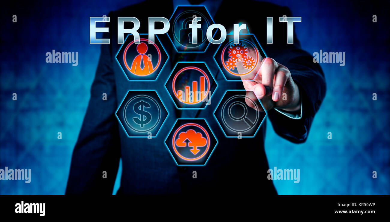 Businessman In Dark Suit Touching ERP for IT - Stock Image