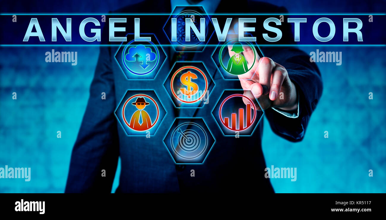 Entrepreneur Pushing ANGEL INVESTOR - Stock Image