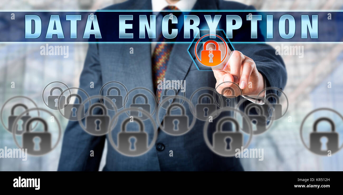 Corporate Manager Pressing DATA ENCRYPTION - Stock Image