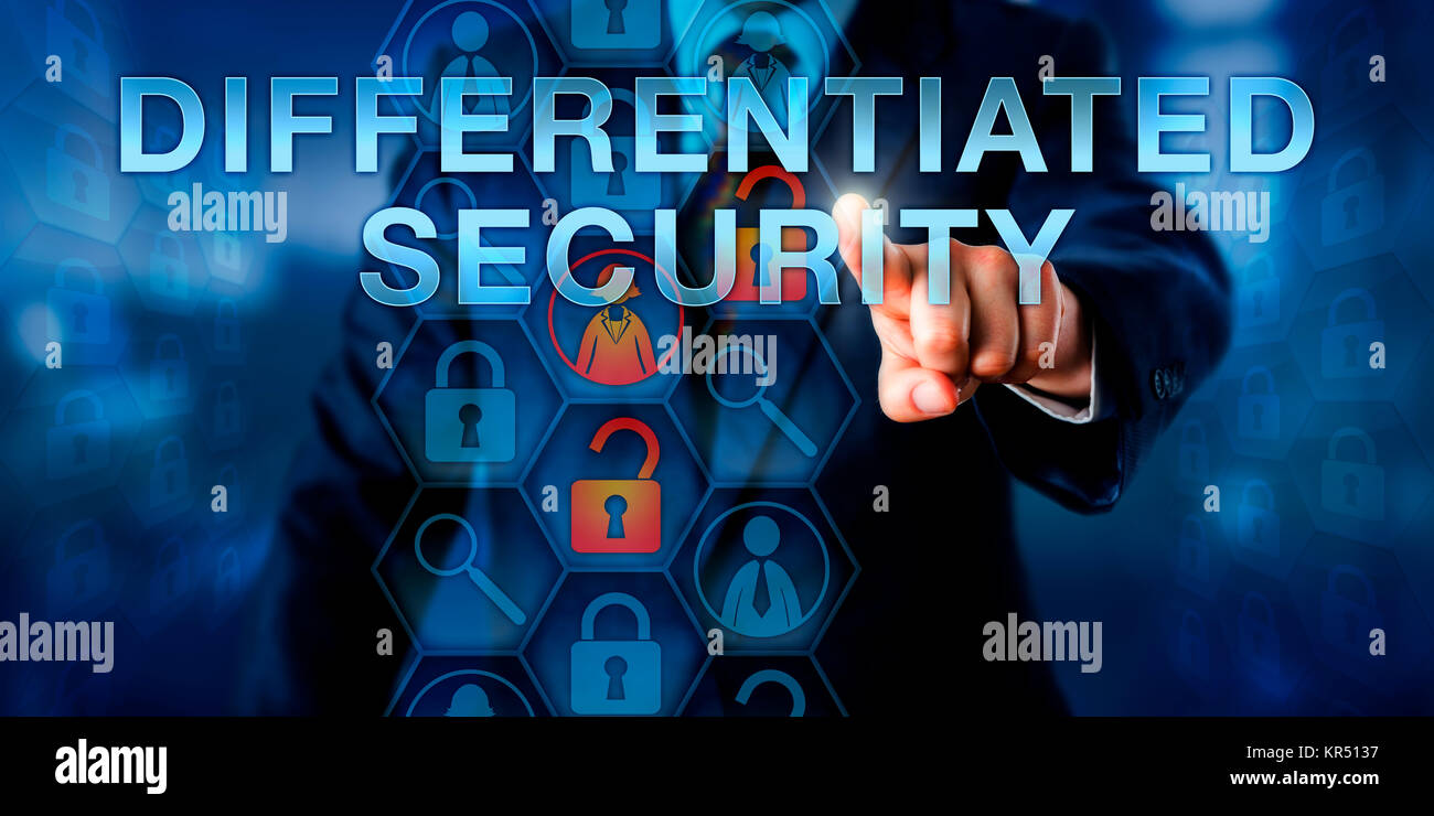 Administrator Pressing DIFFERENTIATED SECURITY - Stock Image