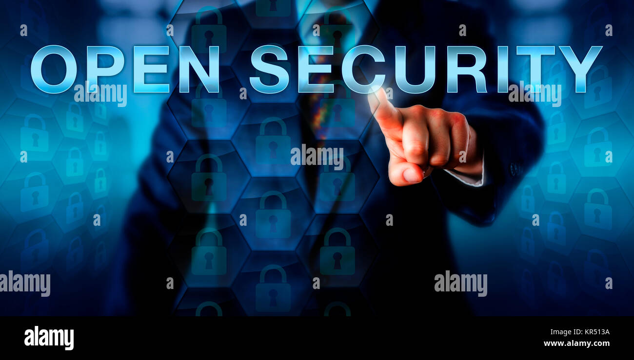 Administrator Pressing OPEN SECURITY - Stock Image