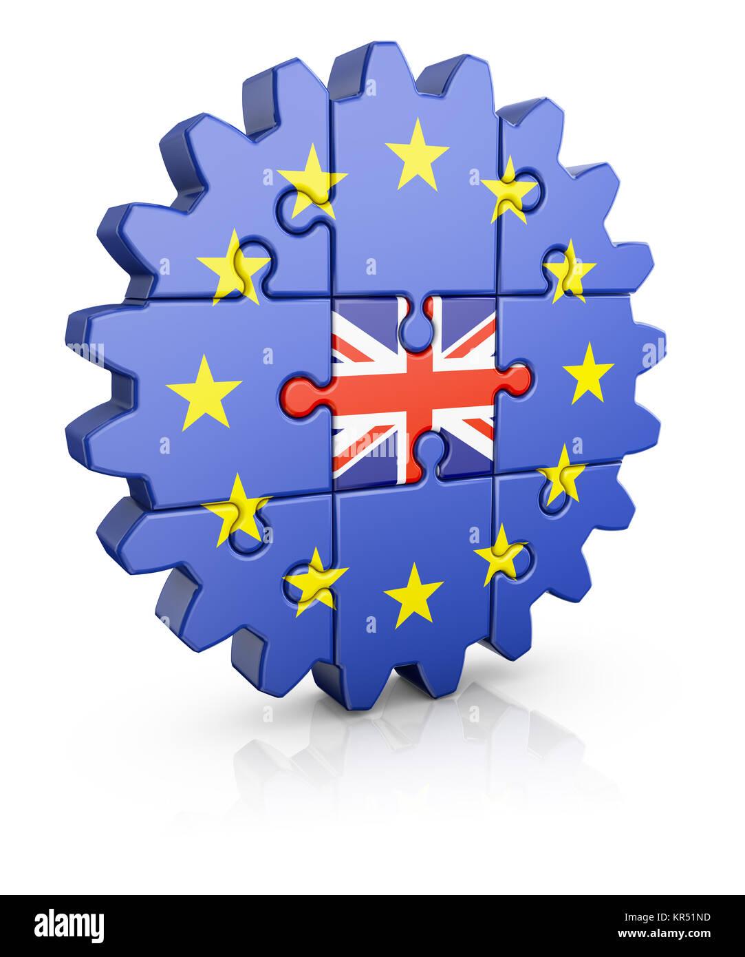 puzzle  EU and UK - Stock Image