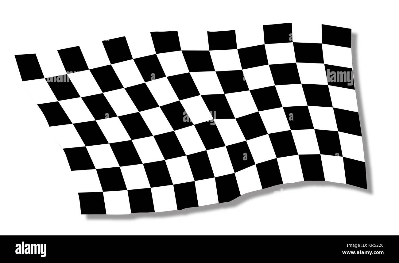 Chequered Flag Fluttering - Stock Image