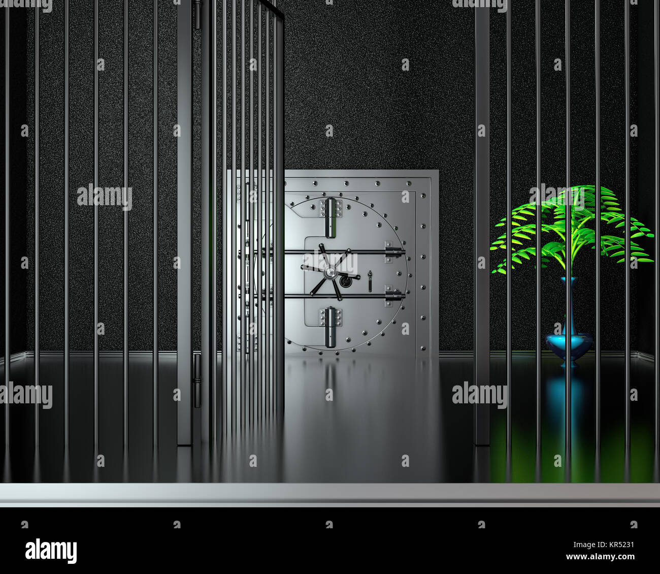 Front view of chrome bank vault door and with gate, closed. 3D Render - Stock Image