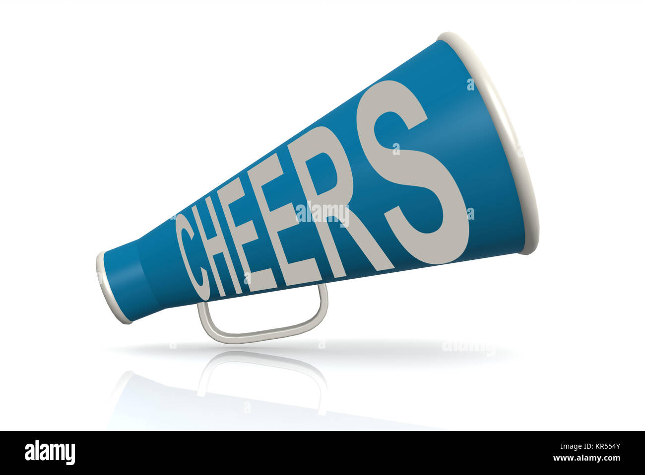 Blue megaphone with cheer word - Stock Image