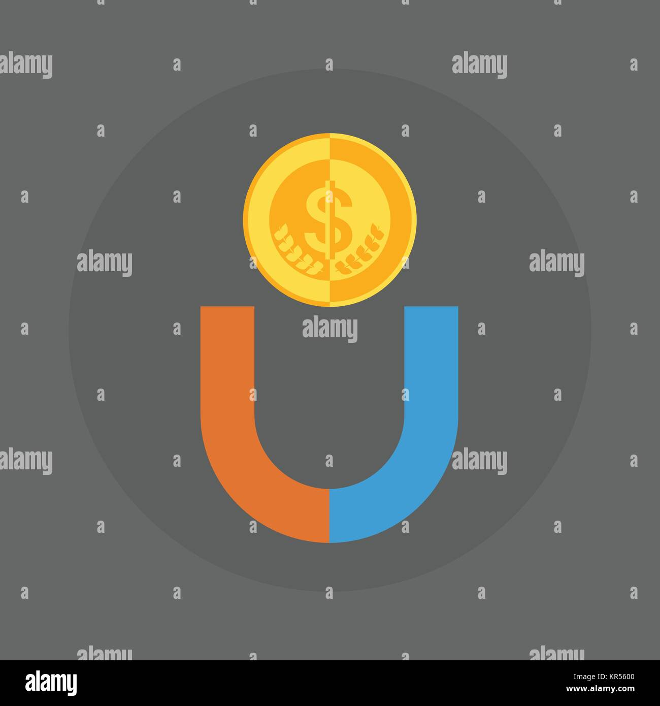 Dollar Coin With Magnet Icon Money Concept Stock Vector Art