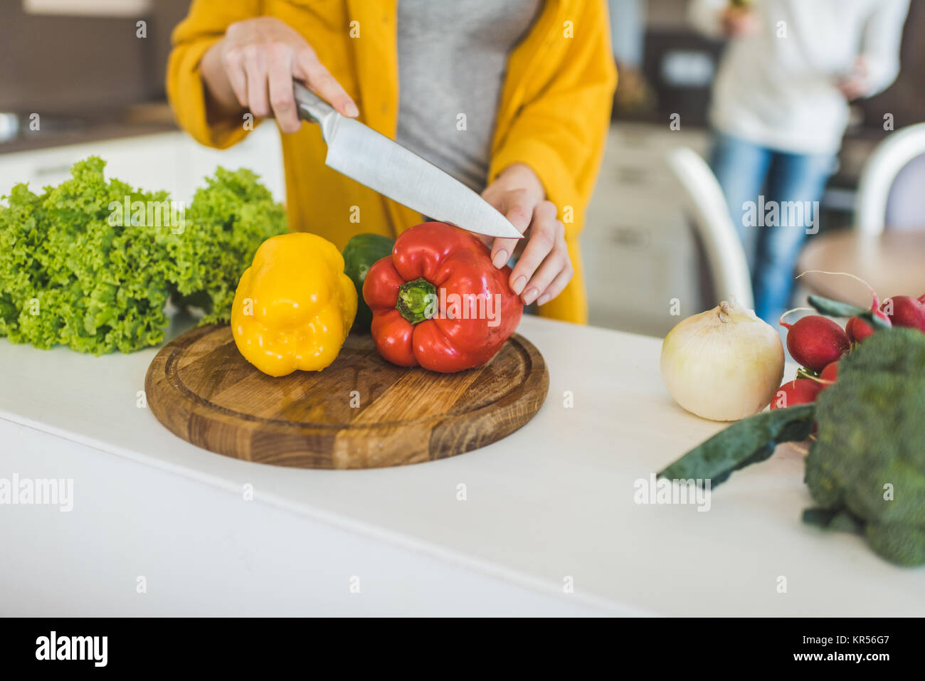 cutting peppers Stock Photo