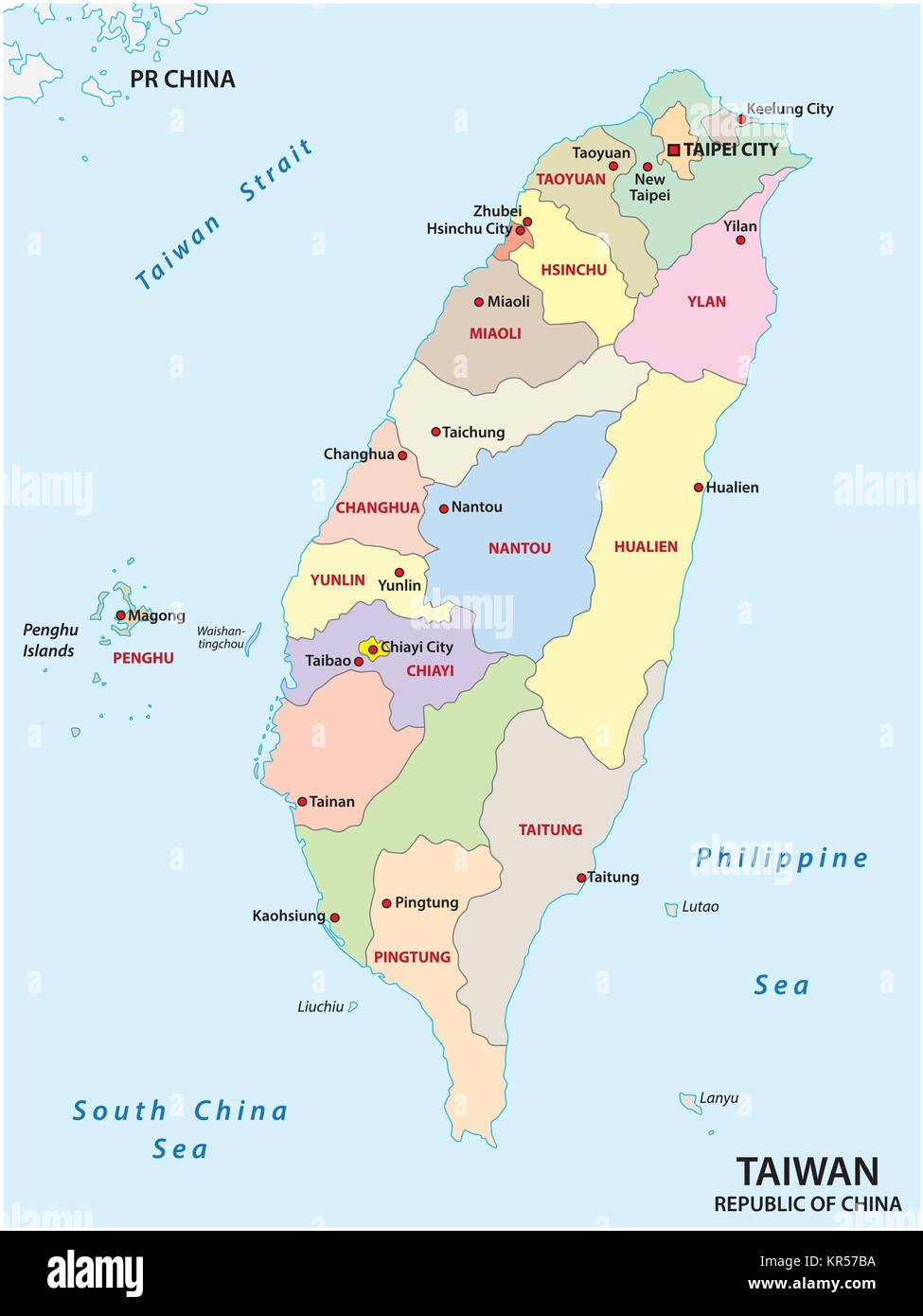 Taiwan administrativ and political vector map - Stock Image