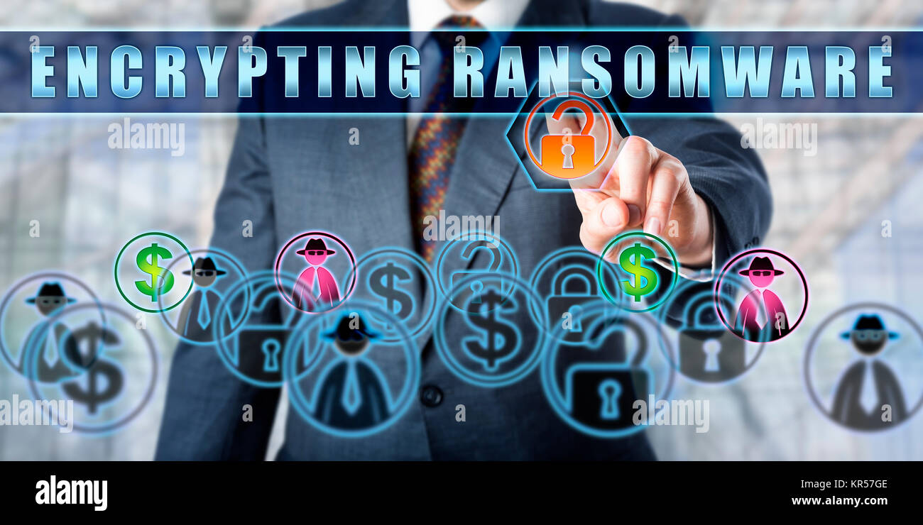 Corporate User Pressing ENCRYPTING RANSOMWARE - Stock Image