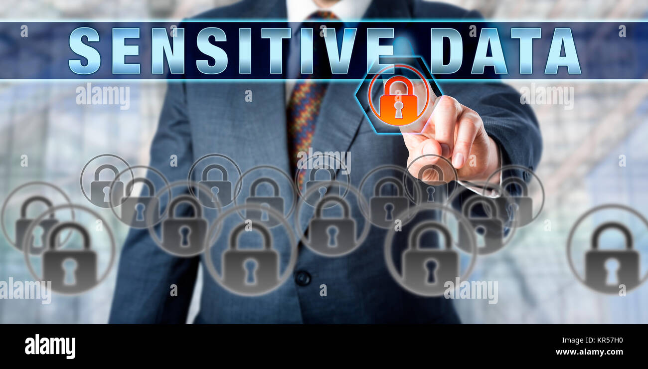 Corporate Manager Pressing SENSITIVE DATA - Stock Image