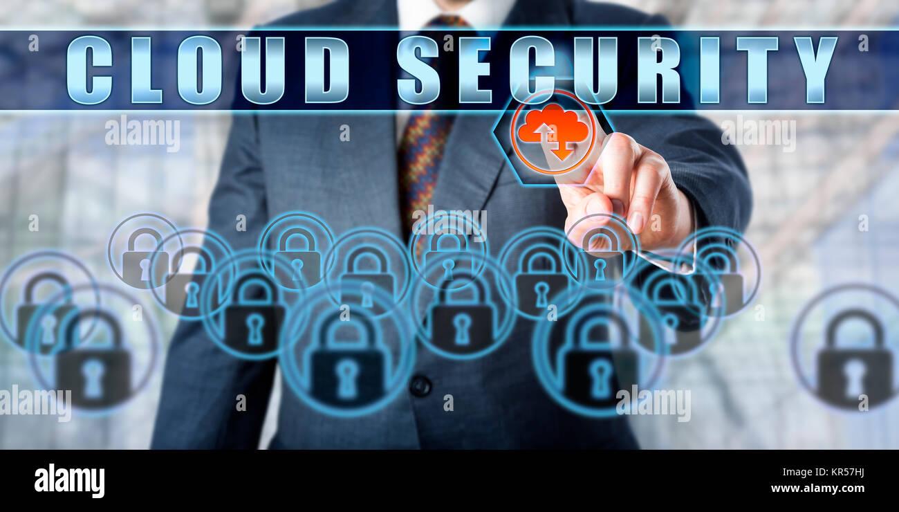 Enterprise Manager Pushing CLOUD SECURITY Stock Photo
