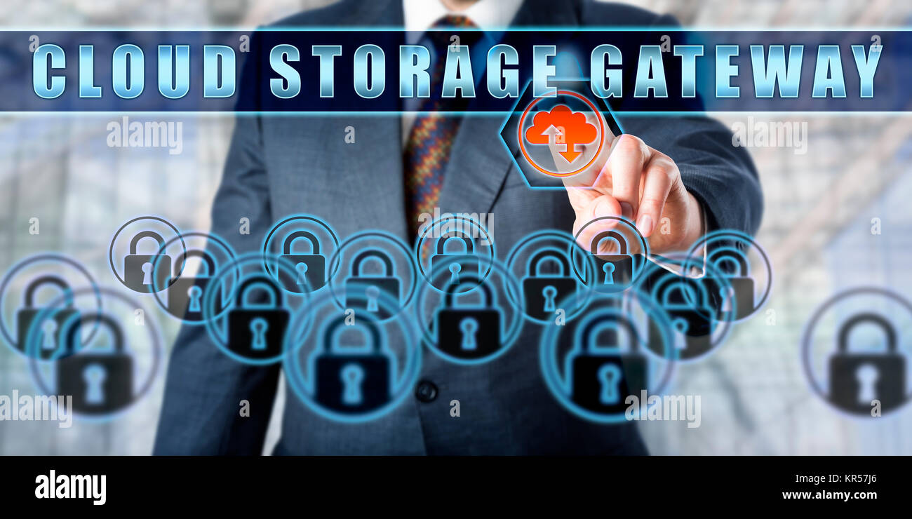 Corporate Manager Pushing CLOUD STORAGE GATEWAY - Stock Image