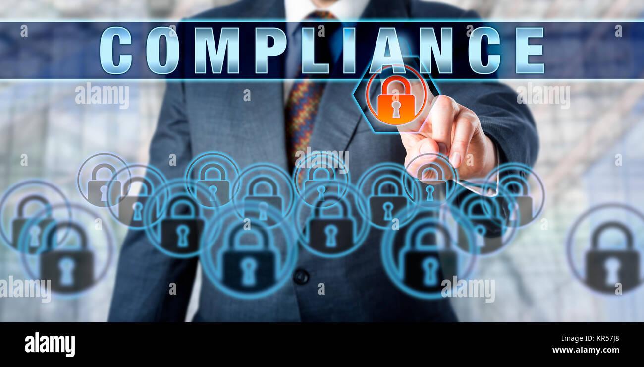 Enterprise Manager Pressing COMPLIANCE - Stock Image