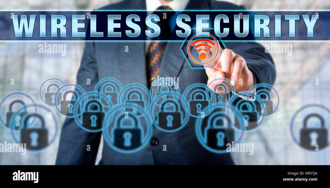 Business Executive Touching WIRELESS SECURITY - Stock Image